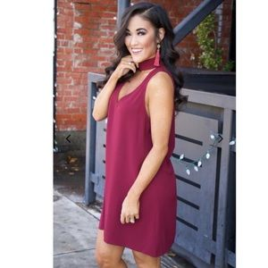 Show Me Your MuMu Dresses - show me your mumu // burgundy choker v-back mini